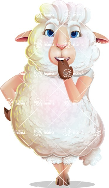 White Sheep Cartoon Vector Character - Yawning