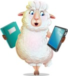 White Sheep Cartoon Vector Character - Choosing between Book and Tablet