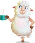 White Sheep Cartoon Vector Character - Drinking Coffee