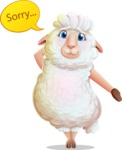 White Sheep Cartoon Vector Character - Feeling sorry