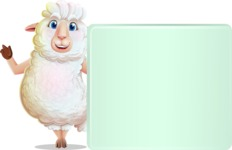 White Sheep Cartoon Vector Character - Holding a Blank sign and Pointing