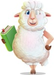 White Sheep Cartoon Vector Character - Holding a book