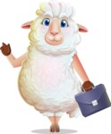 White Sheep Cartoon Vector Character - Holding a briefcase