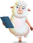 White Sheep Cartoon Vector Character - Holding a notepad