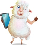 White Sheep Cartoon Vector Character - Holding an iPad