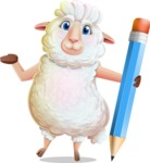 White Sheep Cartoon Vector Character - Holding Pencil