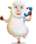 White Sheep Cartoon Vector Character - Holding phone with thumbs up