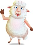 White Sheep Cartoon Vector Character - Making Funny face