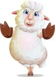 White Sheep Cartoon Vector Character - Making stop gesture with both hands