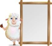 White Sheep Cartoon Vector Character - Making thumbs up with Big Presentation board