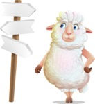 White Sheep Cartoon Vector Character - on a Crossroad with sign pointing in all directions