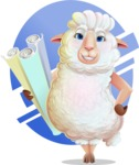 White Sheep Cartoon Vector Character - Shape 10