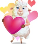 White Sheep Cartoon Vector Character - Shape 7