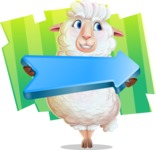 White Sheep Cartoon Vector Character - Shape 8