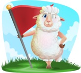 White Sheep Cartoon Vector Character - Shape 9