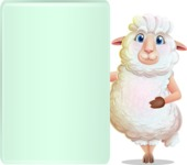 White Sheep Cartoon Vector Character - Showing Big Blank banner