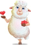 White Sheep Cartoon Vector Character - Showing Love