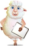 White Sheep Cartoon Vector Character - Smiling and holding notepad