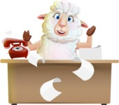 White Sheep Cartoon Vector Character - Stressed out