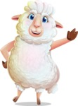 White Sheep Cartoon Vector Character - Waving