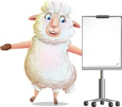 White Sheep Cartoon Vector Character - with a Blank Presentation board