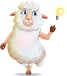 White Sheep Cartoon Vector Character - with a Light bulb