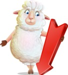 White Sheep Cartoon Vector Character - with Arrow going Down