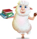 White Sheep Cartoon Vector Character - with Books