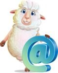White Sheep Cartoon Vector Character - with Email sign