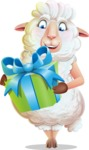 White Sheep Cartoon Vector Character - with Gift box