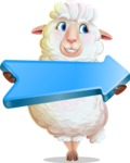 White Sheep Cartoon Vector Character - with Positive arrow
