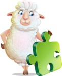 White Sheep Cartoon Vector Character - with Puzzle