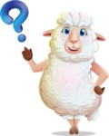 White Sheep Cartoon Vector Character - with Question mark