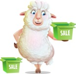 White Sheep Cartoon Vector Character - with Sale boxes