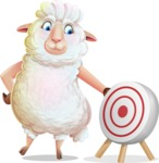White Sheep Cartoon Vector Character - with Target