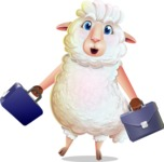 White Sheep Cartoon Vector Character - with Two briefcases
