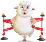 White Sheep Cartoon Vector Character - with Under Construction sign