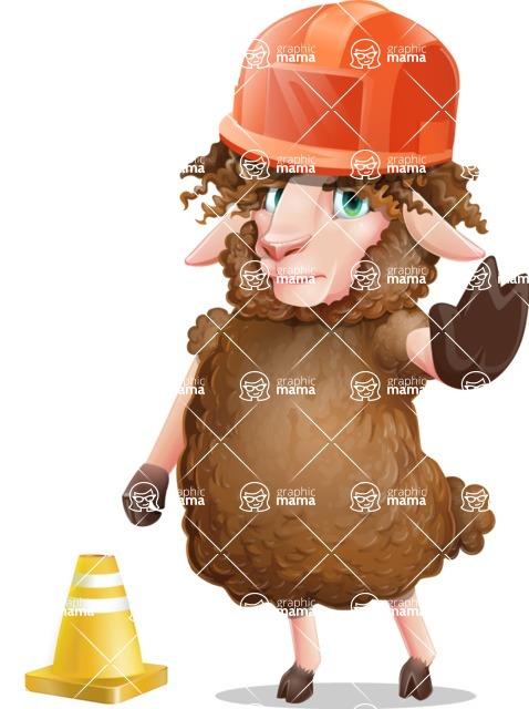 Cartoon Sheep Vector Character - as a Construction worker
