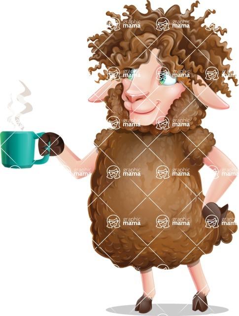 Cartoon Sheep Vector Character - Drinking Coffee