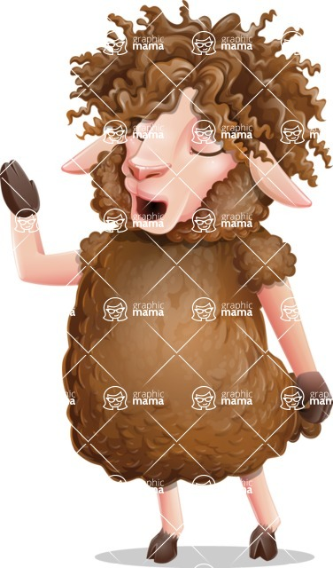 Cartoon Sheep Vector Character - Feeling Bored