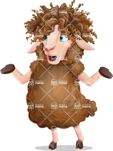 Cartoon Sheep Vector Character - Feeling Lost