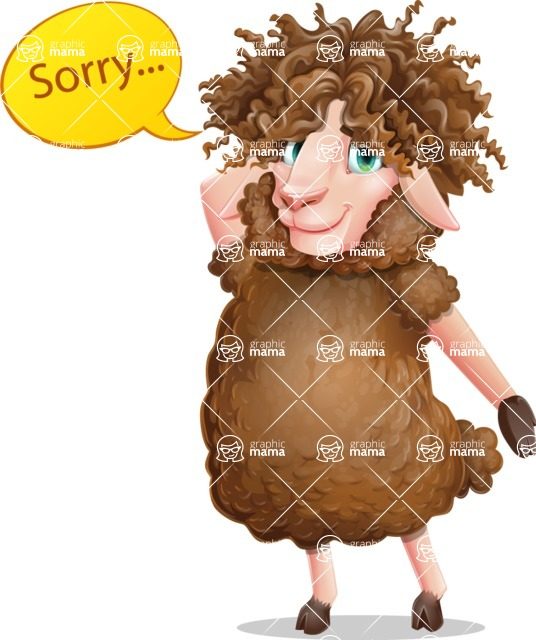 Cartoon Sheep Vector Character - Feeling sorry