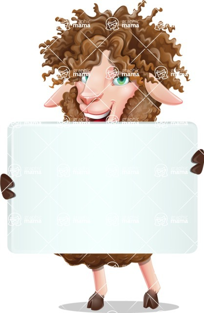Cartoon Sheep Vector Character - Holding a Big Blank banner