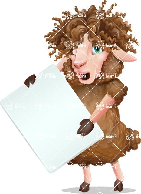 Cartoon Sheep Vector Character - Holding a Blank banner