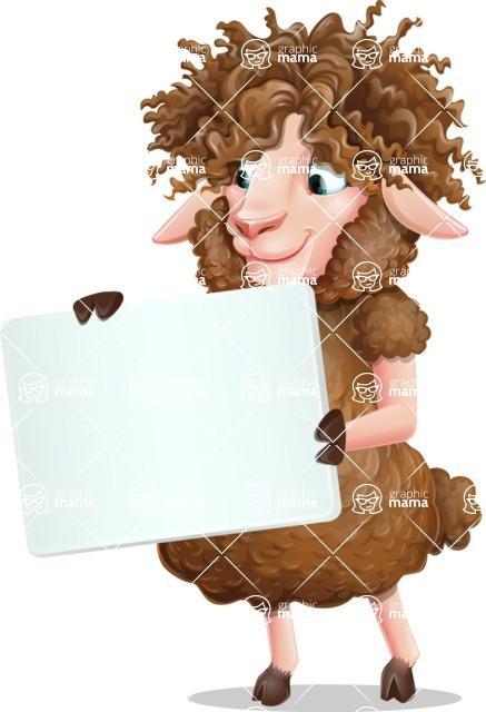 Cartoon Sheep Vector Character - Holding a Blank sign