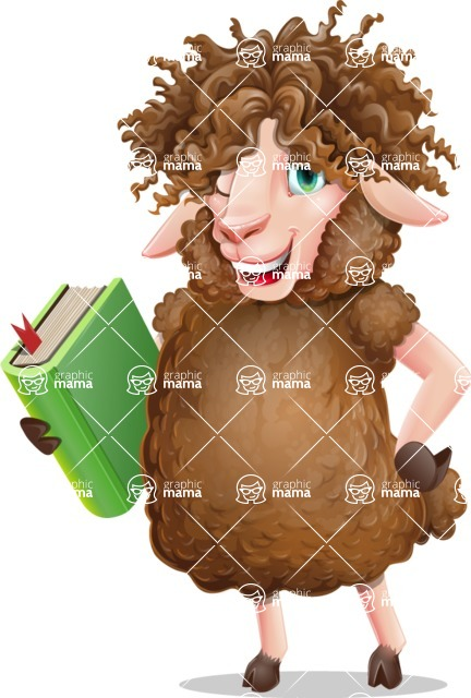 Cartoon Sheep Vector Character - Holding a book