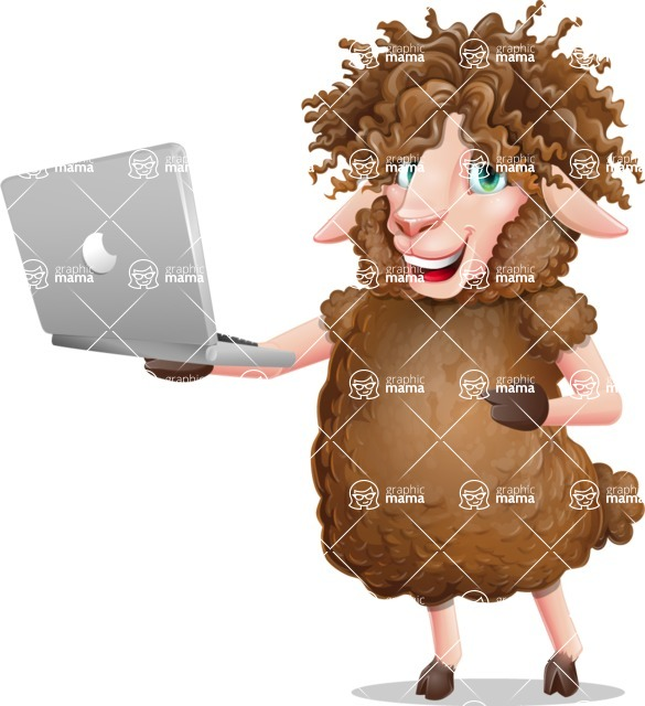 Cartoon Sheep Vector Character - Holding a laptop