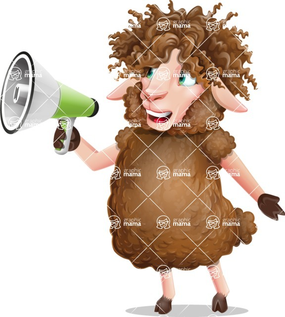 Cartoon Sheep Vector Character - Holding a Loudspeaker