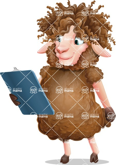 Cartoon Sheep Vector Character - Holding a notepad