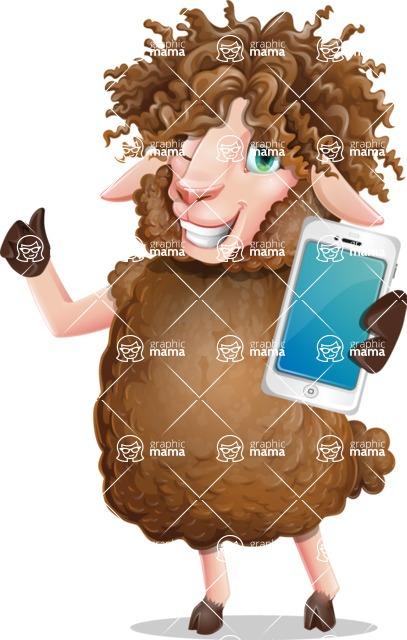 Cartoon Sheep Vector Character - Holding a smartphone